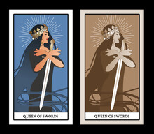 Queen Of Swords With Spades Crown, Holding A Sword Surrounded By Her Long Hair. Minor Arcana Tarot Cards. Spanish Playing Cards