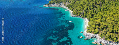 Aerial drone ultra wide panoramic photo of tropical paradise deep turquoise lago Canvas