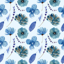 Winter Flower Could Blue Floral Watercolor Samples Pattern