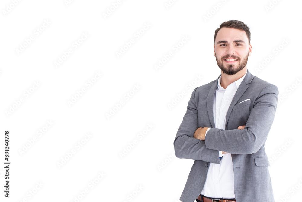Fototapeta Caucasian businessman presentation smiling arm crossed posture isolated on white background.