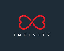 Minimal Love Infinity Logo Template - Vector Illustration