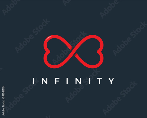 Leinwand Poster minimal love infinity logo template - vector illustration