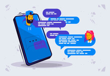 Vector Illustration Of Online Chat Between A Man And A Woman With Avatars, Cloud For Text In A Messenger In A Smartphone
