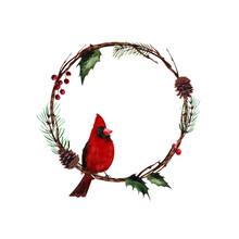 Watercolor Christmas Wreath Wi...