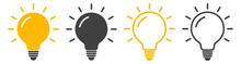 Light Bulb Icon. Set Of Light Bulb Icons. Lighting Electric Lamp, Led Lights. Idea Flat Vector Illustration Light Bulb.