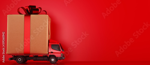 Obraz Big Christmas gift packages on a red truck ready to be delivered - fototapety do salonu