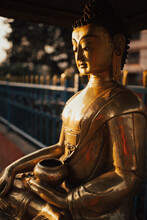Large Golden Buddha Statue In ...