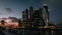Moscow City Skyline In The Dus...