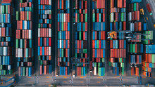 Colorful Shipping Containers Drone Shot