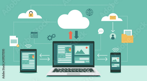 Obraz Cloud computing technology network with laptop, tablet, and smartphone, Online devices upload, download information, data in database on cloud services, vector flat illustration - fototapety do salonu
