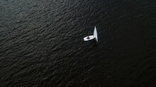 Lonely Small White Yacht Drone...