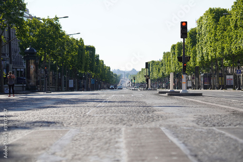 Ville Paris boulevard vide Canvas