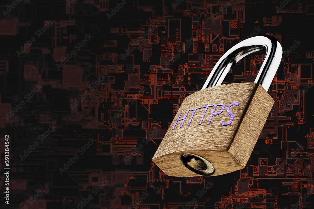 Fototapeta Web page encryption with HTTPS