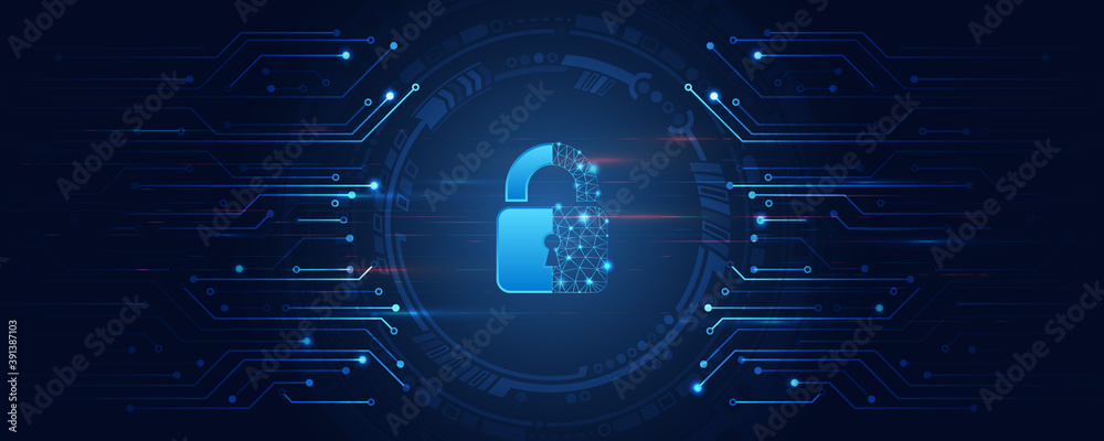 Fototapeta Cybersecurity for business and internet project. Vector illustration of data security services. Data protection, privacy, and internet security concept.