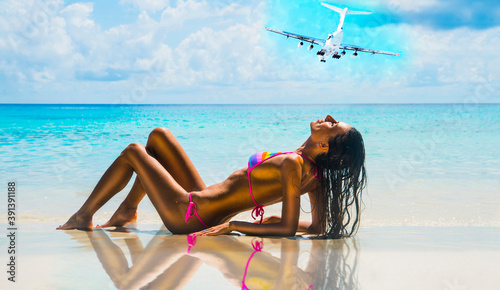 young adult girl person Exotic Hideaway Tanning Pleasure Woman with beautiful ta Canvas Print