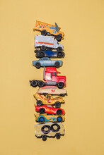 Toy Cars Stacked On Top Of Eac...