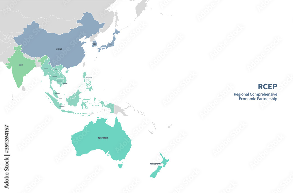 Fototapeta Infographic of RCEP participating countries. RCEP countries vector map.