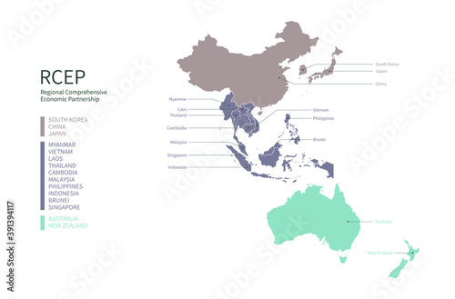 Valokuva Infographic of RCEP participating countries