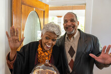 Grandparents Greet Family For Thanksgiving Holiday
