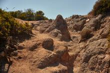 Rocky Wall Of The Southern Coast Of Sardinia