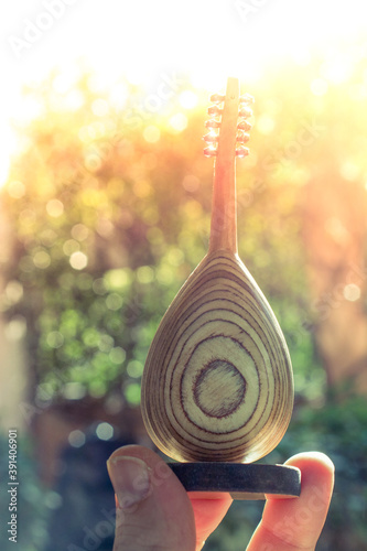 Fotomural Man's hand holding backside of mini classic stringed musical instrument