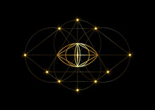 Vesica Piscis Gold Sacred Geometry. All Seeing Eye, The Third Eye Or The Eye Of Providence Inside Triangle Pyramid. The Phi Mystic Heaven And Earth Vector Illustration Isolated On Black Background