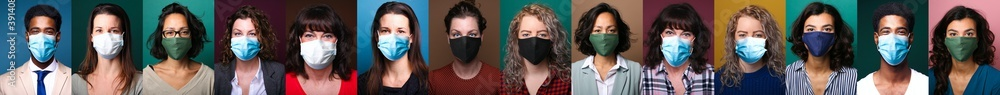 Fototapeta People who wear masks for safety from contamination