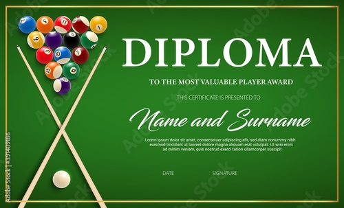 Diploma for the winner of billiard tournament, certificate vector template with cue and balls on green cloth Fotobehang