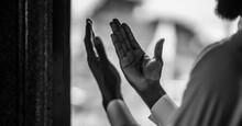 Muslim People Pray In Islam Ceremony In Mosque During Islamic Ramadan