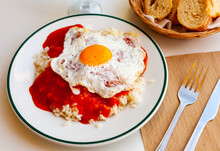 Delicious Rice With Sauce And Fried Eggs. Cuban Cuisine