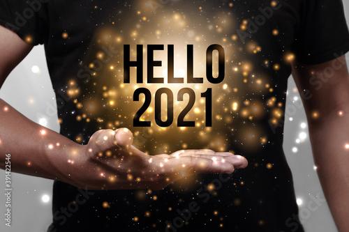 Fototapeta Hello new year 2021 with hand. obraz