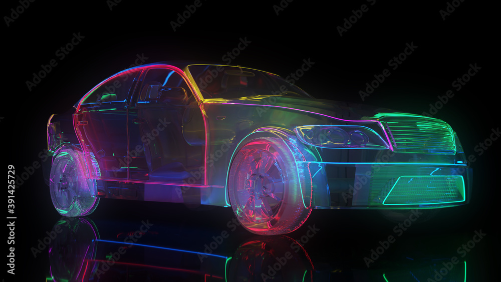Fototapeta Glass car with neon lighting. The edges of the car are highlighted