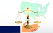 Scales Of Justice Isolated On Blue Green Background