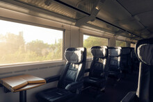 Train Interior With Empty Seats Traveling In Germany. Intercity Express Train With No People