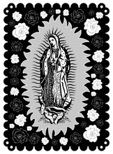 Virgin Of Guadalupe Poster Style Vector Illustration.