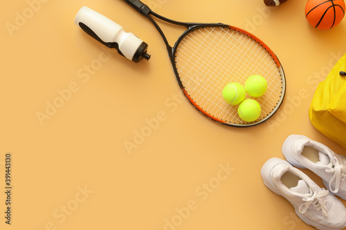 Fototapeta premium Set of sport equipment on color background