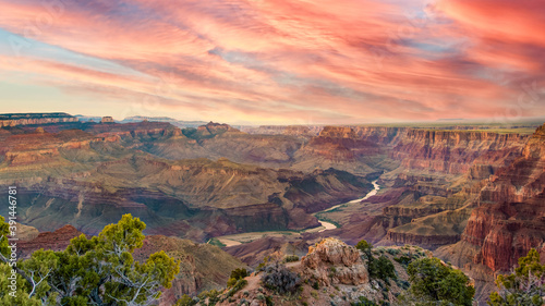 Canvas Print panoramic view of the Colorado River for their Grand Canyon during a few afterno
