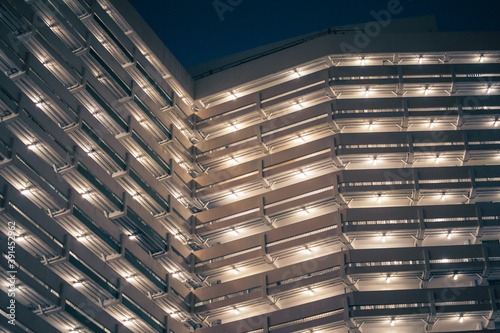Abstract angle of exterior of Public Housing in Hong Kong, night view