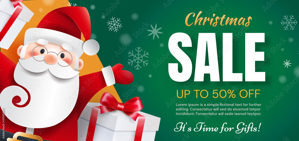 Fototapeta Santa Claus with gifts announces holiday discounts. Christmas sale time for gifts.
