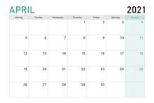 2021 April Illustration Vector Desk Calendar Weeks Start On Monday In Light Green And White Theme