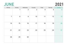 2021 June Illustration Vector Desk Calendar Weeks Start On Monday In Light Green And White Theme