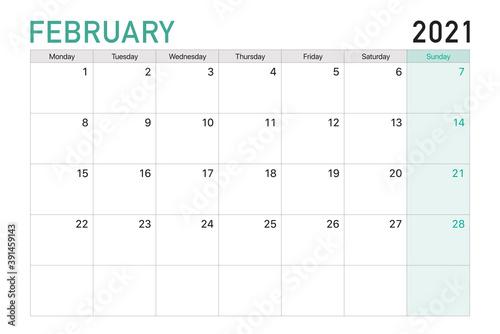 Obraz 2021 February illustration vector desk calendar weeks start on Monday in light green and white theme - fototapety do salonu
