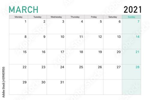 Obraz 2021 March illustration vector desk calendar weeks start on Monday in light green and white theme - fototapety do salonu