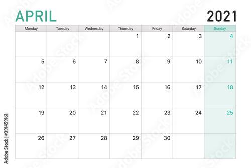 Obraz 2021 April illustration vector desk calendar weeks start on Monday in light green and white theme - fototapety do salonu