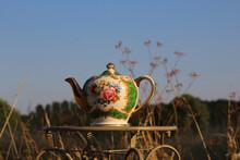 Closeup Of A Vintage Teapot Wi...