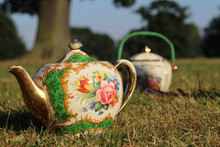 Closeup Of A Vintage Teapot And A Sugar Pot With Floral Designs On The Ground