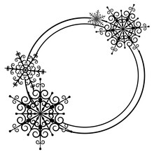 Round Frame With Snowflakes. C...