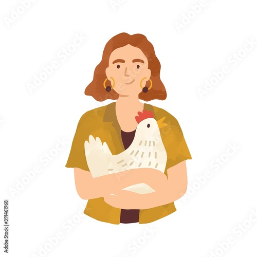 Portrait of young woman holding cute hen in her arms isolated on white background. Female character taking care of domestic farm animal. Vector illustration in flat cartoon style