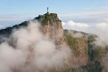 View Of The Art Deco Statue Of Christ The Redeemer On Corcovado Mountain In Rio De Janeiro, Brazil.