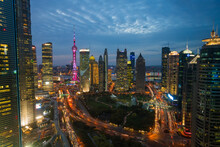 Skyline Of The Pudong Financial District At Dusk, Shanghai, China.